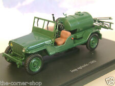 U/H HACHETTE DIECAST 1/43 1962 JEEP AGRICOLE WITH TANK & SPRAYER IN GREEN TR62