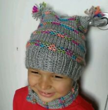 Handknitted colourfull hat and scarf set size 3-4 year boy unisex wool blen