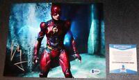Ezra Miller SIGNED The Flash Justice League AUTOGRAPHED 8X10 Picture Beckett PSA