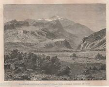 Antique print View of ancient Krissa and Mount Parnassus Greece 1877