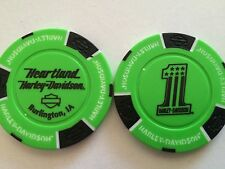 HEARTLAND HARLEY DAVIDSON POKER CHIP (LIME GREEN & BLACK) BURLINGTON, IOWA IA