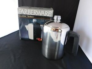 New Farberware Stove Top Percolator 4- 8-Cup  Coffee Pot Stainless Steel Camping