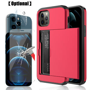 For iPhone 13 12 Pro Max 13 mini Wallet Card Holder Case Lens&Screen Protector