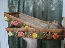 Folk Art 2 nesting baskets Crafts Vintage Handmade Art with flowers retro Style