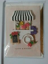 Hallmark Signature 3D Flower Cart With Jeweled Bouquets Happy Birthday Card