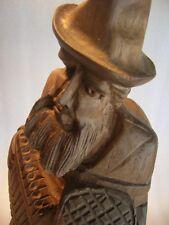 Vintage Handcarved Wood Old Man Statue
