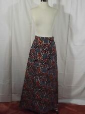 Groovy Vtg 60s 70s Bold FRUIT FLORAL QUILTED MAXI SKIRT Sz S/M Boho Gypsy Hippie