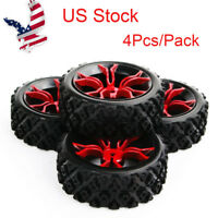 US 4Pcs Rally Tires&12mm Hex Wheel Red for HSP HPI RC 1/10 off road Model car