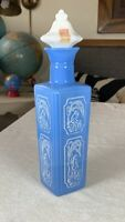 Vintage Empty CERAMIC LIQUOR DECANTER Blue & White Milk Glass