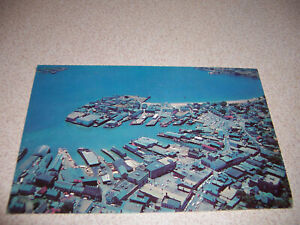 1950s AERIAL-VIEW, PORT of GLOUCESTER MA. VTG PHOTO POSTCARD~~COMMERCIAL FISHING