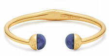 Auth New Tory Burch Logo Bead Hinged Bracelet Blue Sodalite Stones w/ Dust Cover