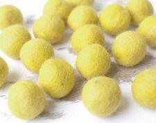 2.5cm YELLOW Felt Balls x20.Wool.Party Decor.Pom poms.Felt Ball.Wholesale.