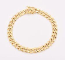 "8mm Mens Miami Cuban Link Bracelet Box Clasp Real 10K Yellow Gold 8.5"""