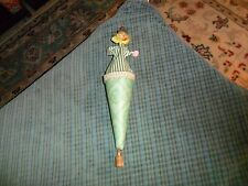 Vintage Push Up Cone Puppet W/ Wood Paper & Cloth