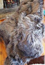 Luxury Large Mongolian Faux Fur DARK Grey Throw Feather Long Hair