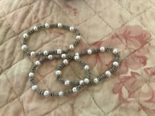 Pearl/Silver Bead Stretch Bangles  -  3