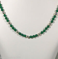 """Green Austrian Agate Sterling Silver Bead Necklace 19"""" Length Spring Ring Clasp"""