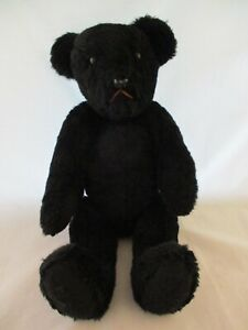 """Vintage 1950's Black Teddy Bear Articulated Joints 20ish"""" tall (823)"""