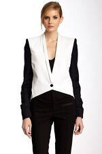 NWOT $520 Helmut Lang Ruched Sleeve Tide Cotton Black White Tuxedo Jacket Sz 0
