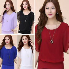 Women Chiffon T-Shirt Puff Sleeves Top Short Sleeve Casual Blouse Shirt Elegant
