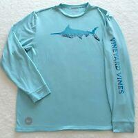 Vineyard Vines Marlin Reflection Aqua Long Sleeve Swordfish Shirt Men's Large