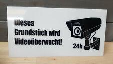 Dieses Grundstück wird Videoüberwacht Schild Schilder Acrylglas Weiss 20x10