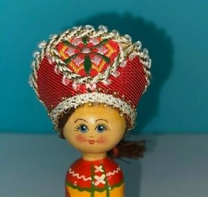VINTAGE SMALL WOODEN CARVED/PAINTED RUSSIAN COSTUME DOLL YELLOW