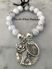 White Howlite bracelet St Christopher Guardian Angel Rose Wing & Clear Evil Eye