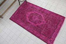 """Vintage Handmade Overdyed Pink Turkish Oushak Rug  79""""x45"""""""