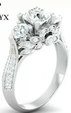 Silver Rings For Women Vintage Flowers Bridal Wedding Valentines Ring I