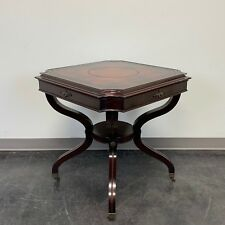 Vintage Mahogany Lamp Table with Tooled Leather Top