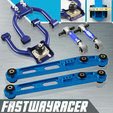 JDM EK Blue Front Upper Conrol Arm+Rear Lower Control Arms LCA + Rear Camber Kit