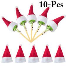 10pcs Christmas Mini Lollipop Lollypop Santa Hat Cap Wrap Xmas Party Decor