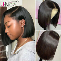 UNice Hair Brazilian Short Bob Straight Human Hair Lace Front Wig Pre Plucked 8A