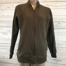 Womens S Duluth Chore Sweater front pockets zip up brown thick Barn coat L