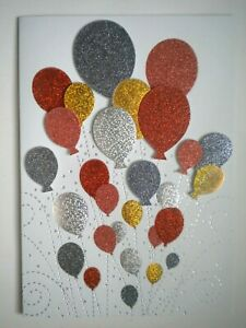 C.R.Gibson ~ GLITTERY 3D BALLOONS ANY OCCASION GREETING CARD + ENVELOPE