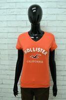 HOLLISTER Maglia Donna Manica Corta Taglia M Cotone Fantasia Righe Shirt Woman