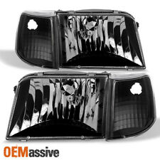1993-1997 Ford Ranger Black Headlights + Turn Signal Corner Lights Replacement