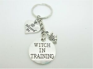 WITCH IN TRAINING  KEYRING BAG CHARM  WITH GIFT BAG PAGAN WICCA WITCH