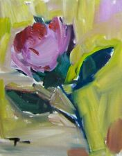 "JOSE TRUJILLO OIL PAINTING 8X10"" Impressionism Single Flower Pink Yellow Impasto"