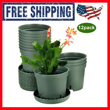 New ListingZoutog Plastic Pots for Plants, 6 inch Plastic Planters with Drainage Hole, Pack