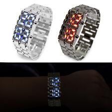 Volcanic Lava Iron Samurai Metal LED Wrist Watch Faceless Bracelet Sport Watch