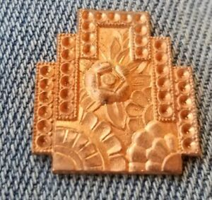 Antique VINTAGE BRASS copper pendant FINDING STAMPING flower OLD jewelry pawn