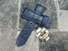 24mm Navy Blue Grain Leather Strap Brush Watch Band Buckle Set PANERAI DBU