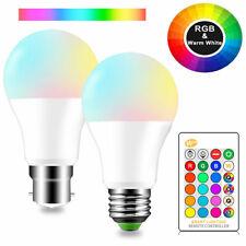 Smart Remote Control LED RGB Light Bulbs E27 B22 5W 10W 15W RGBW Home Lamps 230V