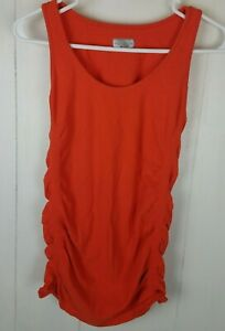 Athleta Tank Size S Orange Sleeveless Ruched Top Shirt Work-Out Womens