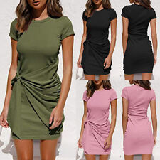 Women Bodycon Mini T-shirt Dress Ladies Summer Short Sleeve Casual Sundress