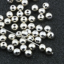 5mm Silver Acrylic Round Faux Pearl Bead Vintage Japanese 80pcs 10305005