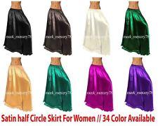 Belly Dance Halbrund Satinröcke für Frauen Maxi Röcke Halbe ausgestellte S9