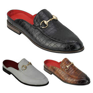 Mens Half Shoes Snakeskin Emboss Leather Smart Casual Open Back Slip on Shoes